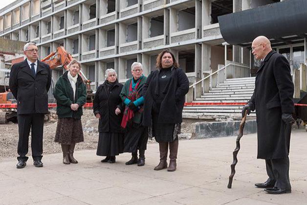From left, Hirini Matunga, Denise Sheat, Aunty Marg Jones, Daphne O'Connell, Puamiria Parata-Goodall and Matua Henare Edwards at the whakawātea.