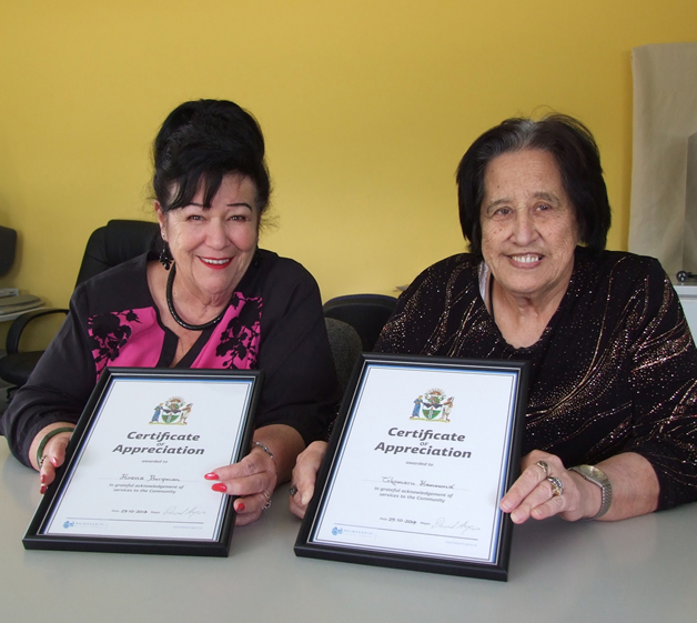From left, Hoana Burgman and Tokomaru Hammond with their awards. Photo courtesy of The Kaiapoi Advocate.