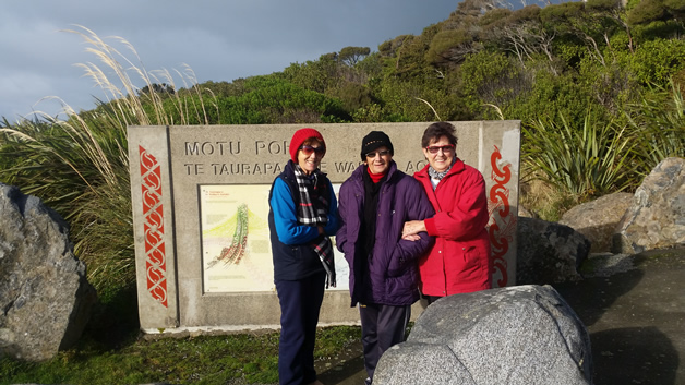 From left, Lavinia, Carol and Dawn – three sisters on Motupohue, Bluff.