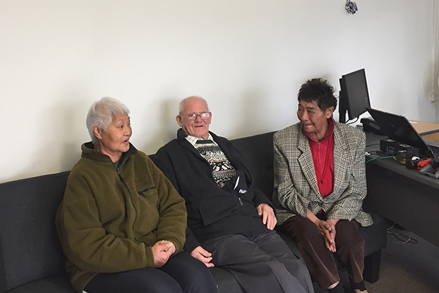 From left, Libya Foote, Drew Trainer and Rosina Hix having a catch up.