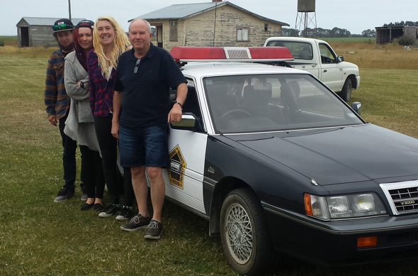 From left, Marty, Dardanelle, Maddison and their novelty car at our car rally.