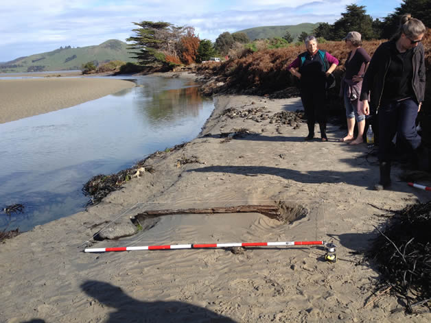 From left, Moana Wesley, Kiri Fraser and Marion Sutton wait for the excavation to begin.