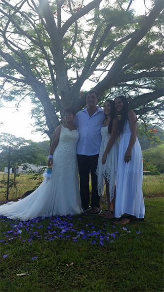 From left, Naomi, Dean, Alex (granddaughter of bride and daughter of Louise) and Louise (daughter of bride).
