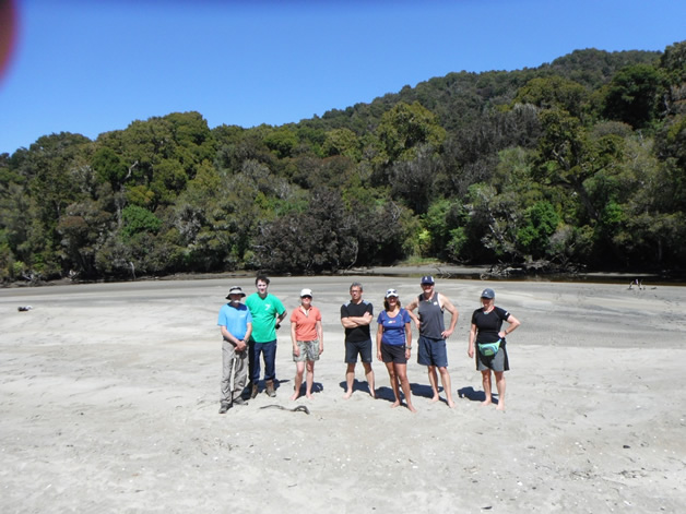 From left: Phil Fluerty, Aaron Leith, Jane Kitson, Dean Whaanga, Donna Sheppard, Dave Taylor, Steph Blair at Little Bungaree.