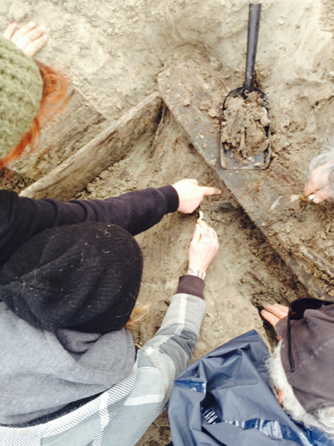 From left, Rachel Wesley, Kate Dempsey, Ewan Duff try to identify the object.