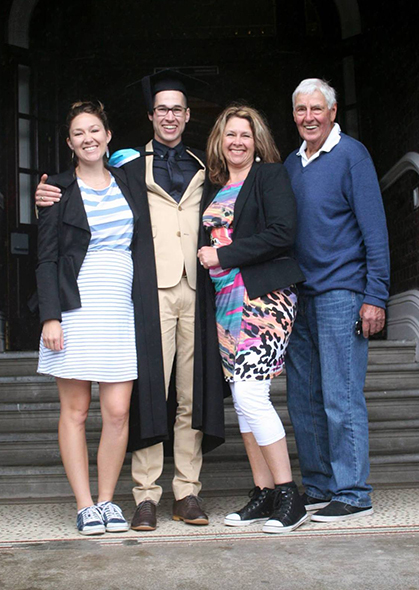 From left, Summer Mains (sister), Abraham Mains, Victoria Taylor (mother) and Gary Taylor (grandfather).