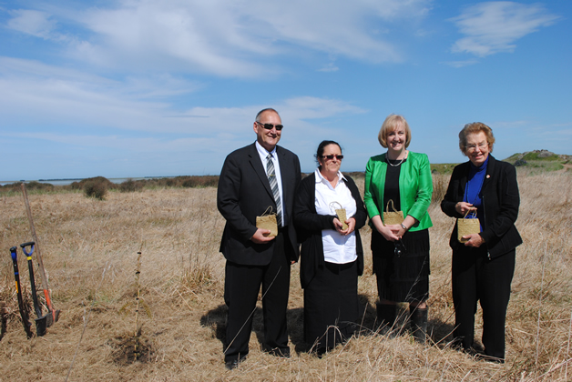 From left, Tā Mark Solomon, Chair of TWMB Terrianna Smith, MP Amy Adams and Dame Margaret Bazley Ecan Chair Commissioners.