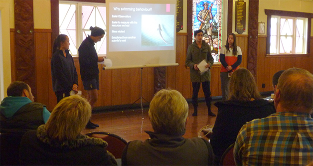 From left, Tara Marshal, Teremoana Hamblin, Jayden Gallagher and Katherine Inder giving their findings on sharks.