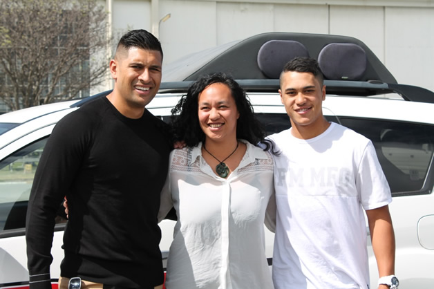 From left, Te Kohe Tuhaka, Waipounamu Te Karu and James Rolleston.