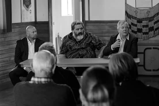 From left, Timaru Mayor, Damon Odey, Waihao Chairman, Graeme Lane and Waimate Mayor, Craig Rowley, fielding questions from whānau.