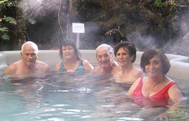 From left, Walter Mahuika, Waikohatu Scott, Neville Tahuaroa, Marie Mahuika-Forsyth and Elaine Williams at the Glacier Hotpools.