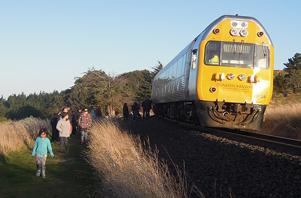 Getting off the Silver Fern railcar at Karitane.