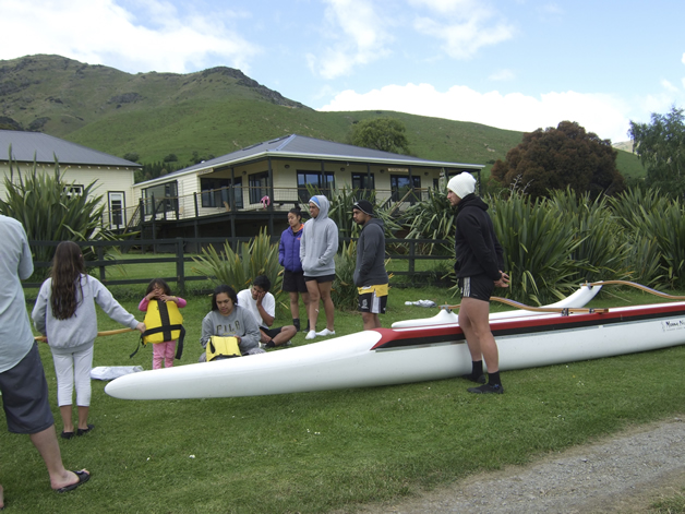Getting ready for the waka ama action.