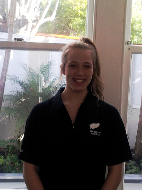 Grace Tobin, a member of the New Zealand water polo team competing in Spain.