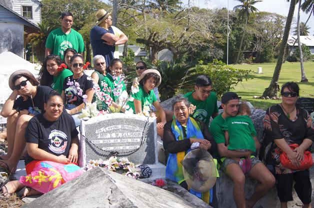 Group photo with Tini Ellison headstone.