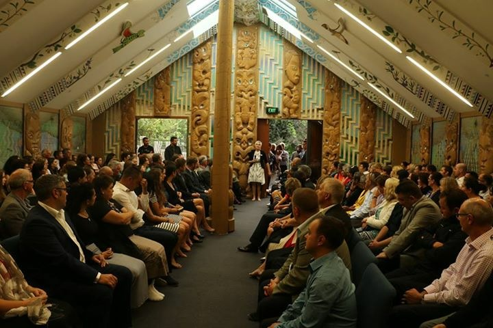 Hana speaking during the mihi whakatau.