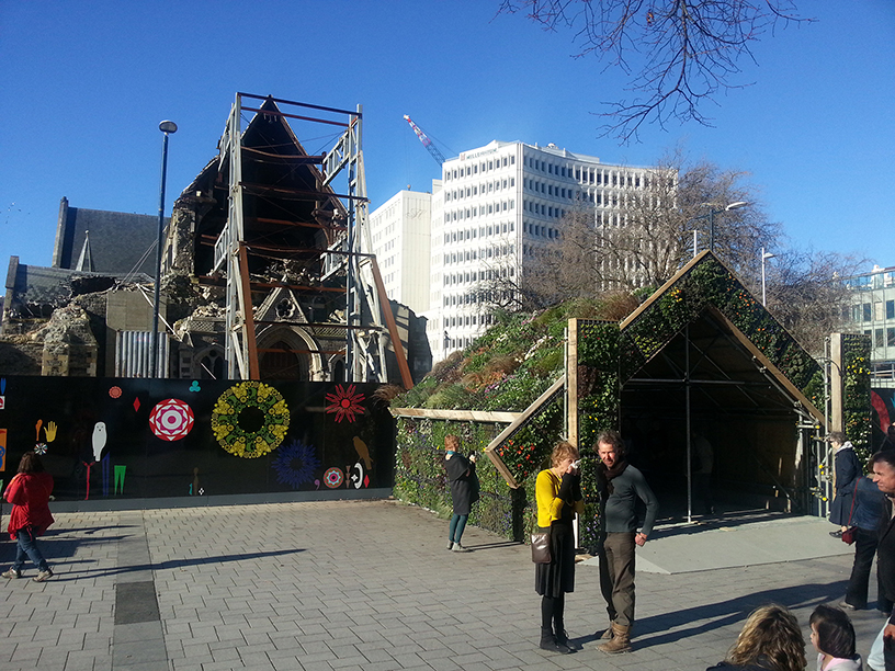 Heaphy's 'planted whare' in front of the cathdral.