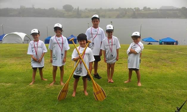 Hinehaka me Taoka before their first race at the Waka Ama NZ nationals at Lake Karapiro, Waikato.