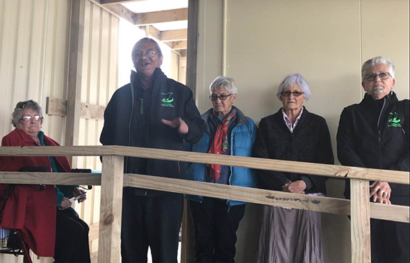 Ivy McGaughey and whānau opening the new office block.
