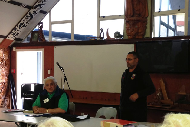 Jack Thatcher, right, speaking to our rōpū about his Waka Tapu voyage to Rapanui. Uncle Joe Briggs sits on the left.