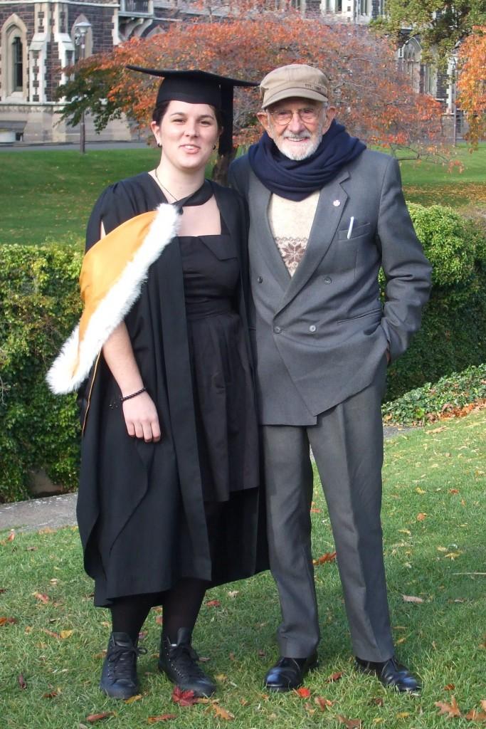 Jennifer with her grandfather, John Southerwood MNZM.