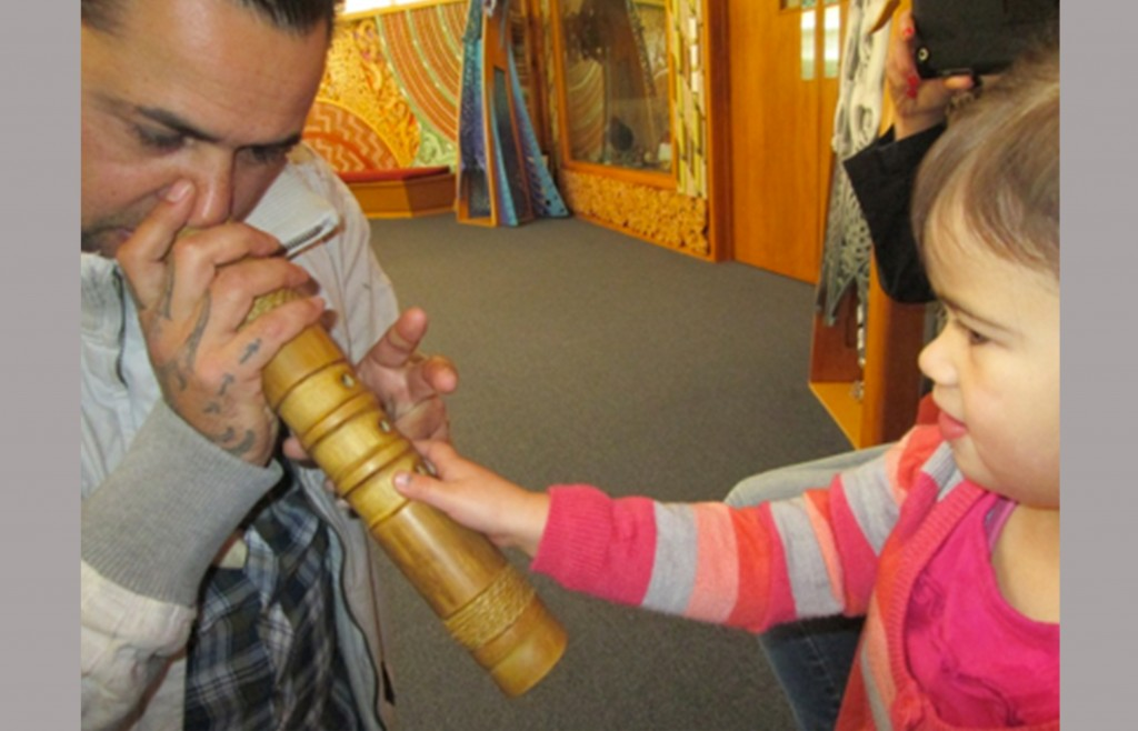 Jerome Kavanagh introduces Mahlee Kapene to traditional instruments.