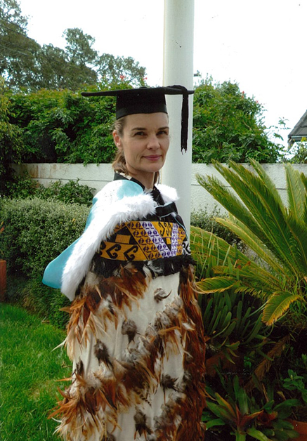 Jo-Anne wearing her korowai on graduation day.