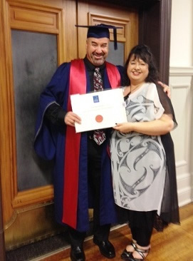 Joe and his wife,  Ann celebrating his degree.