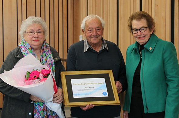John and Gloria Wilkie with Dame Margaret Bazley (right).