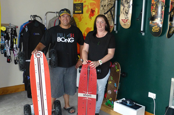 John and Melanie Roberts, owners of South Coast Skate and Surf.