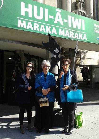 Kāti Māhaki whānau outside the Hui-a-Iwi venue. From left, Eva Scott-Keen, Mata Holliday and Marie Mahuika Forsyth.