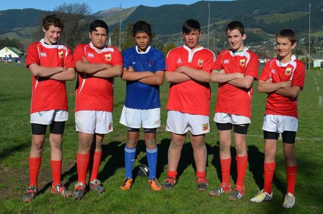 From left: Matt Getz, Tuhawaiki McDonald, Poihipi Clayton, Hemi Williams, Jack Cotter and Adam Ford in their Marlborough Under 13 team.