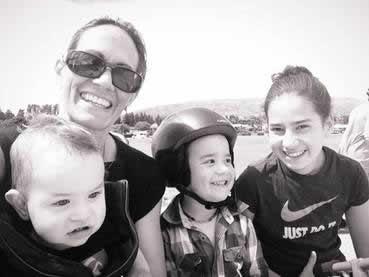 Kara with her three children, Tasman, Nico and Tayla.