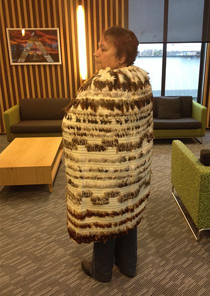 Karen wearing Mana Tāne.