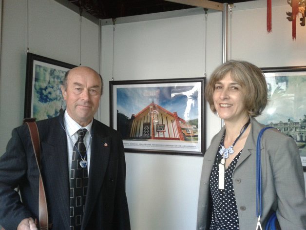 Katharina Ruckstuhl and Edward Ellison at the opening of the Dunedin City exhibition at Yu Yuan Gardens, Shanghai.