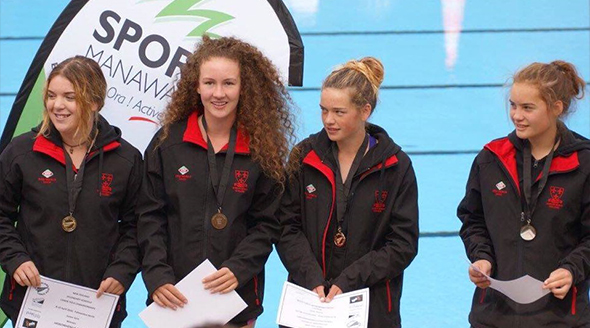 Kayak Water Polo New Zealand Under 14 Champions, featuring Phoebe Williams third from the left.