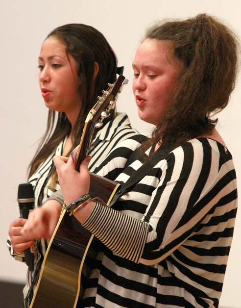 Kiriana Parata and Teanahera Parata perform at the launch of the Dunedin Arts and Culture Strategy.