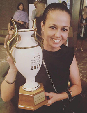 Kori Millar, winner of an Asia Award of Excellence 2016.