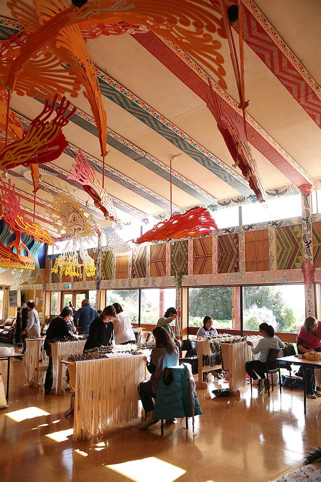 A recently funded korowai weaving wānanga at Te Rau Aroha Marae.