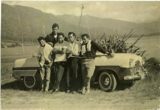 Left to right, James Mason Russell, Tahana Daniel Tauwhare (at the back), Mani Kihi, Tom Tainui and Gus Hutana.
