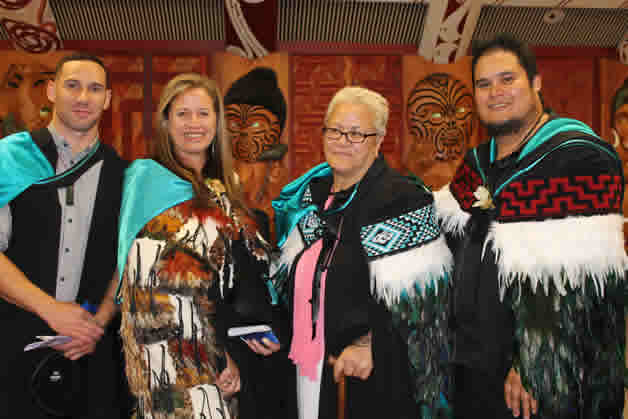 Left to right, Renata Karena, Ngarangi Chapman, Wikitoria Smith and Maha Tomo (Renata and Wikitoria are Ngāi Tahu). All graduated our bachelors of creative arts.