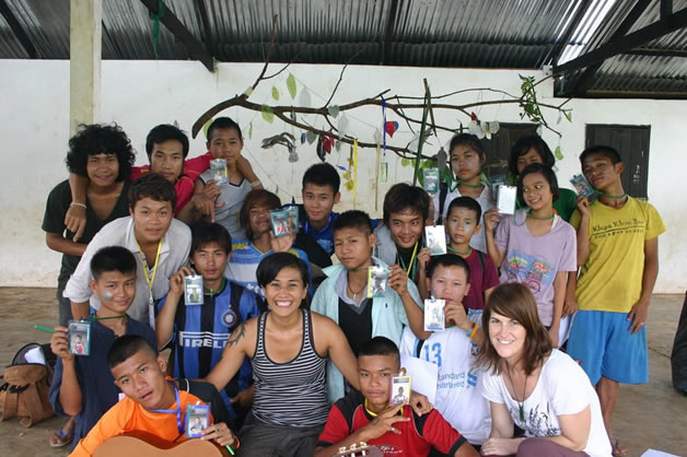 Leila and some of her students in Thailand.