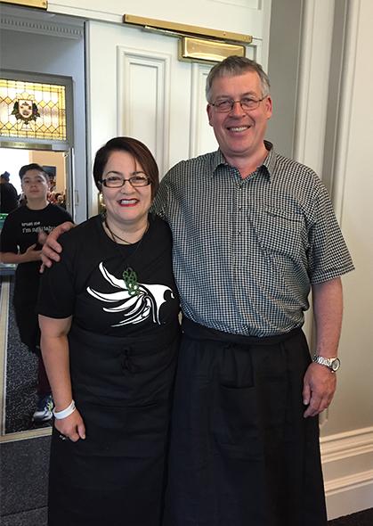 Lisa Tumahai and Terry Nicholas helped to serve breakfast at the Hui-ā-Iwi kaumātua breakfast.