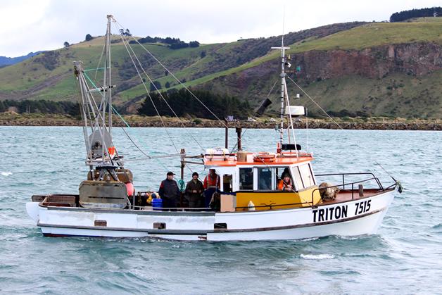Locals on board MV Triton, David Taiaroa, Anthony Walters, Steve Anderson, Neil McDonald (leaning out wheelhouse window).