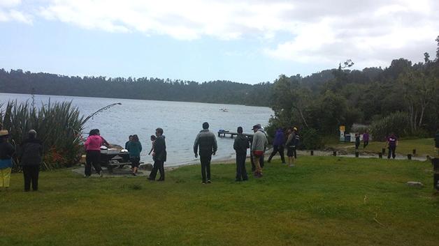 Lunch-break at beautiful Matahi Lake.