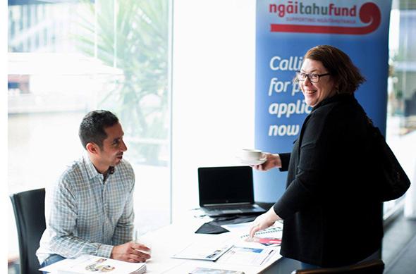 Lyndon Waaka at the Ngāi Tahu Fund stall in Melbourne.