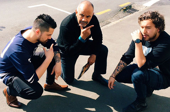 Left to right: Vincent Egan, Te Ururoa Flavell and 'Mads' Henry-Ryan.