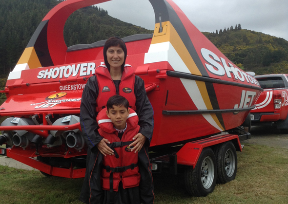 Manawanui and Emma ready for their Shotover Jet ride.