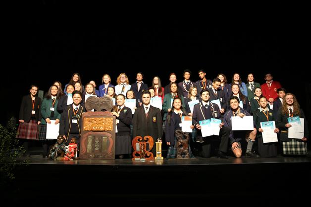 Manu Kōrero participants at the Ōtākou-Murihiku regional competition.