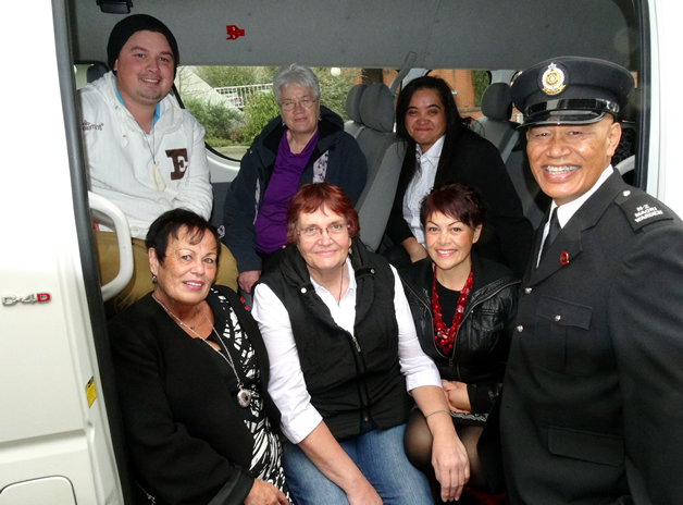 Our Māori wardens in the new van.